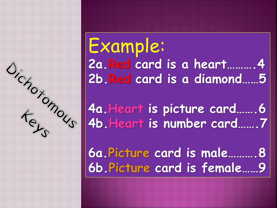 Example: Dichotomous Keys 2a.Red card is a heart……….4