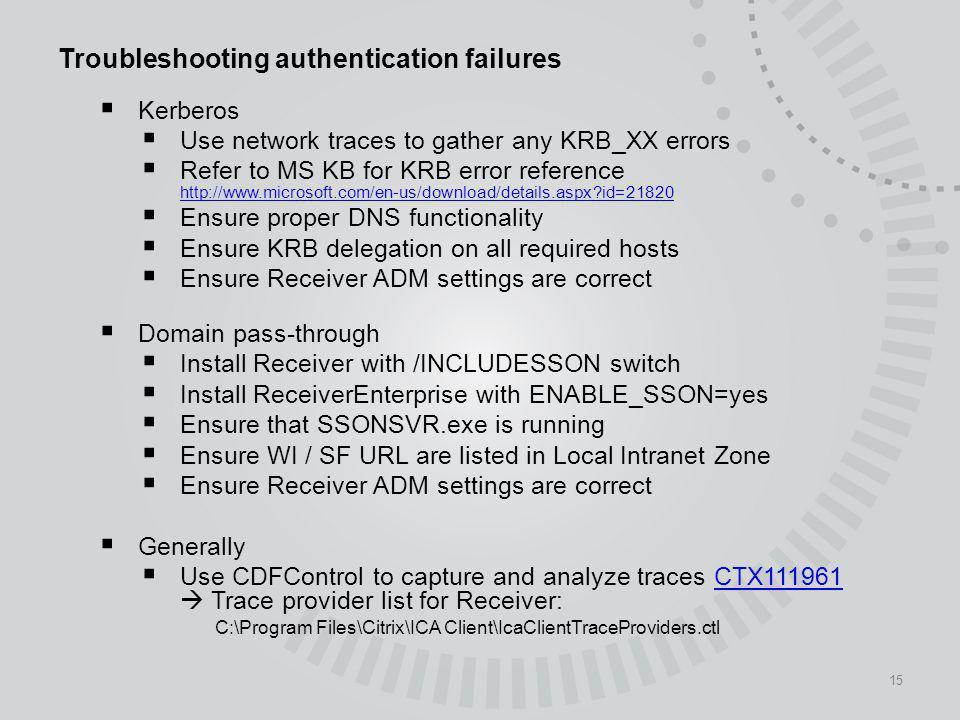 Troubleshooting authentication failures