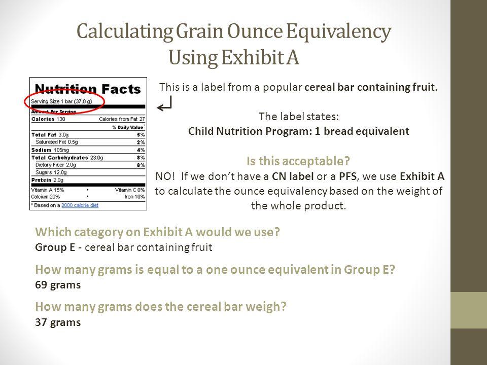 Child Nutrition Program: 1 bread equivalent