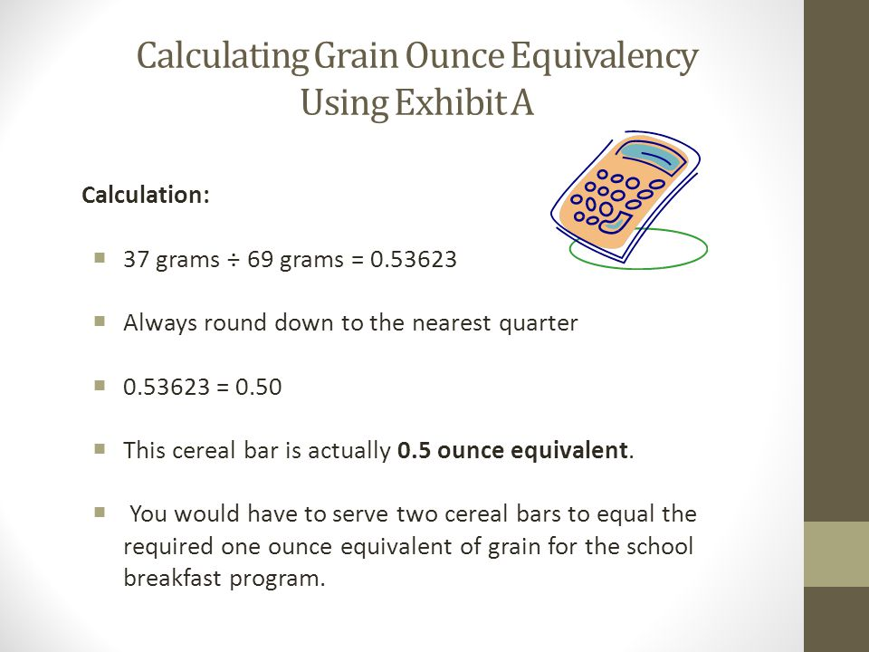 Calculating Grain Ounce Equivalency