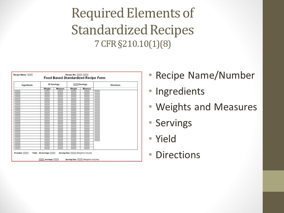 Required Elements of Standardized Recipes 7 CFR §210.10(1)(8)