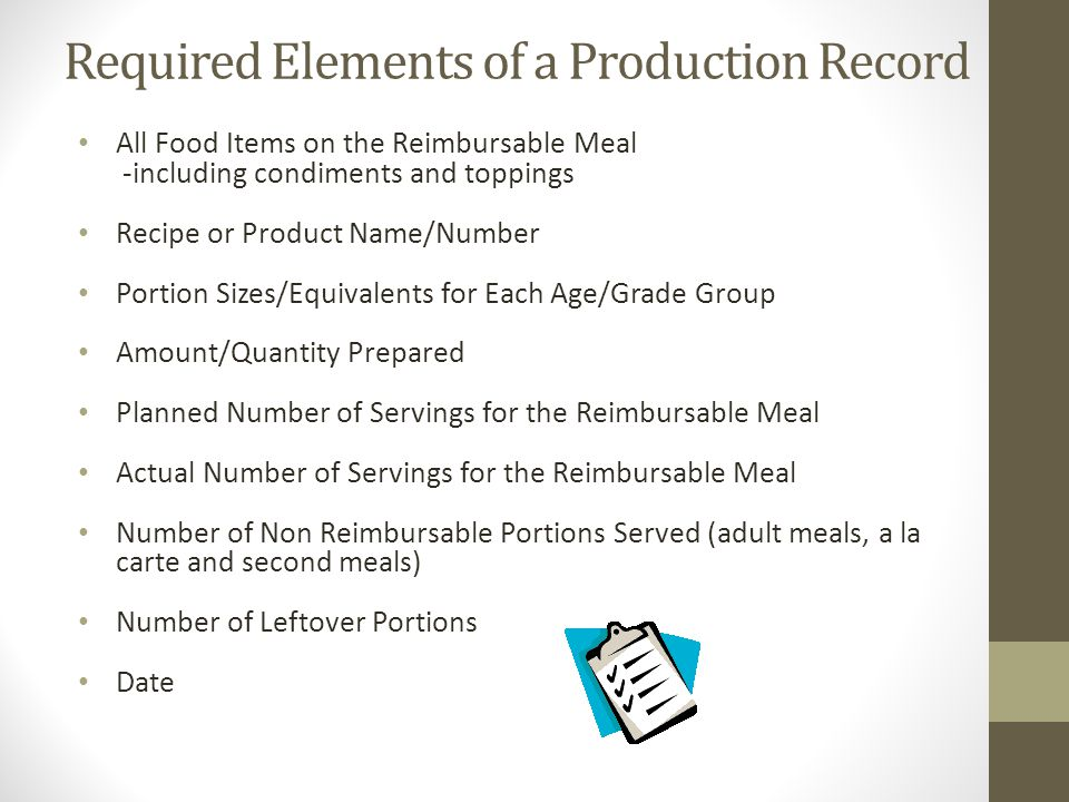 Required Elements of a Production Record