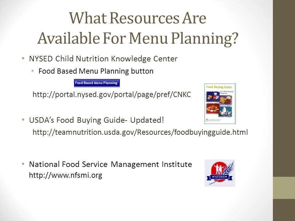 What Resources Are Available For Menu Planning