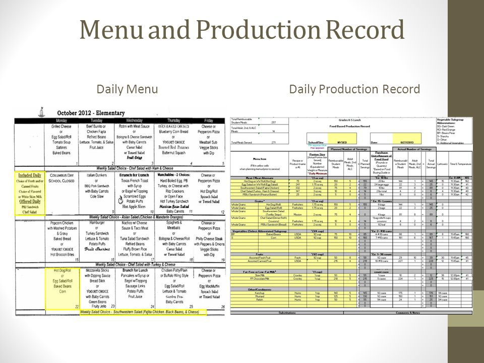 Menu and Production Record