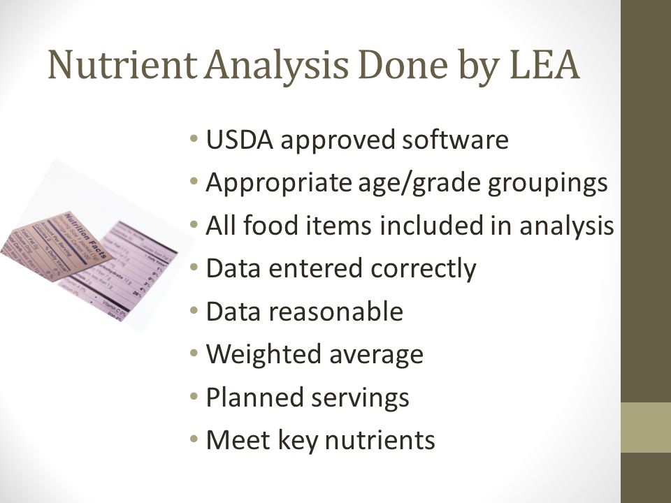 Nutrient Analysis Done by LEA
