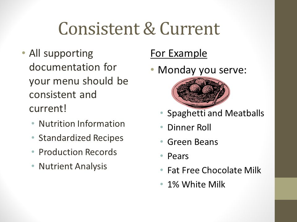 Consistent & Current All supporting documentation for your menu should be consistent and current! Nutrition Information.
