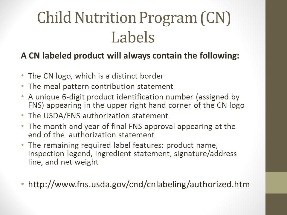 Child Nutrition Program (CN) Labels