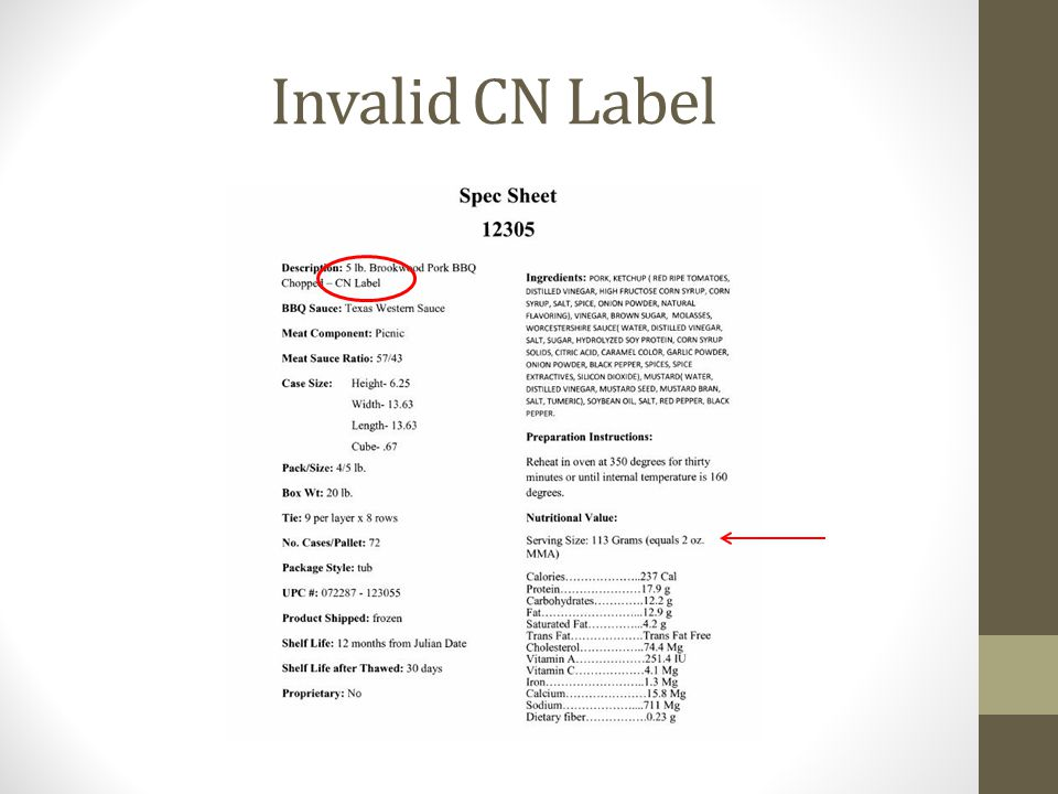 Invalid CN Label Here is an example of a manufacturer's product statement that claims to be a CN label, but this is not a CN label.