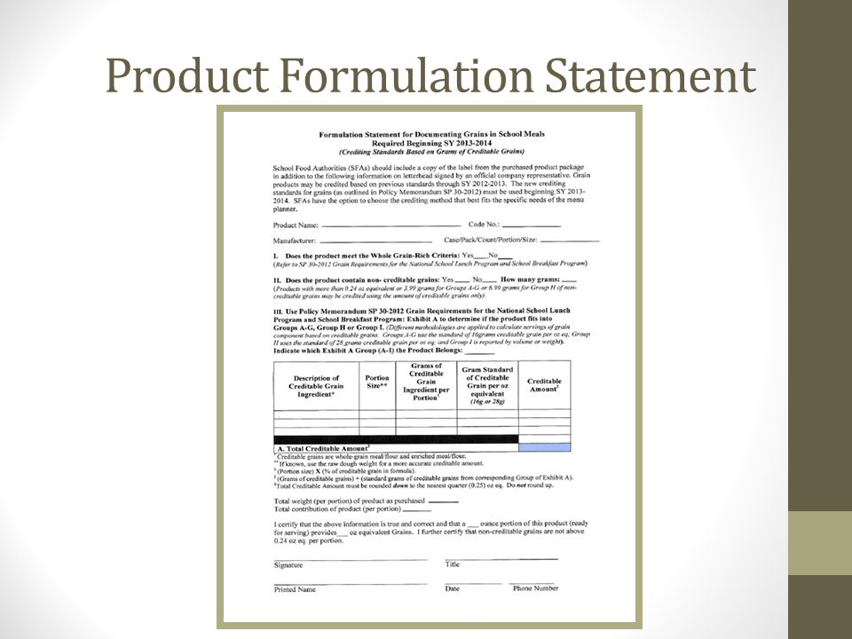 Product Formulation Statement