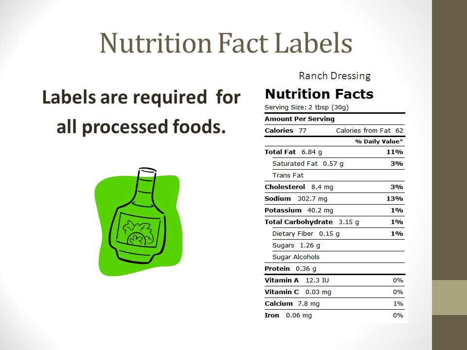 Labels are required for all processed foods.
