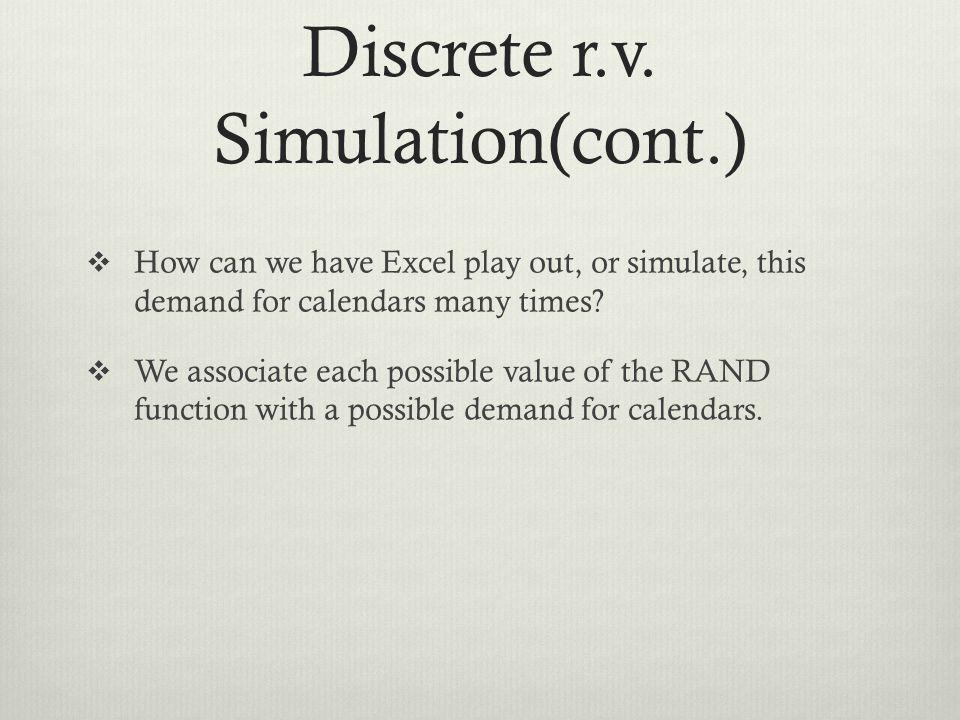 Discrete r.v. Simulation(cont.)