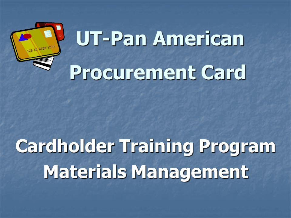 Cardholder Training Program Materials Management