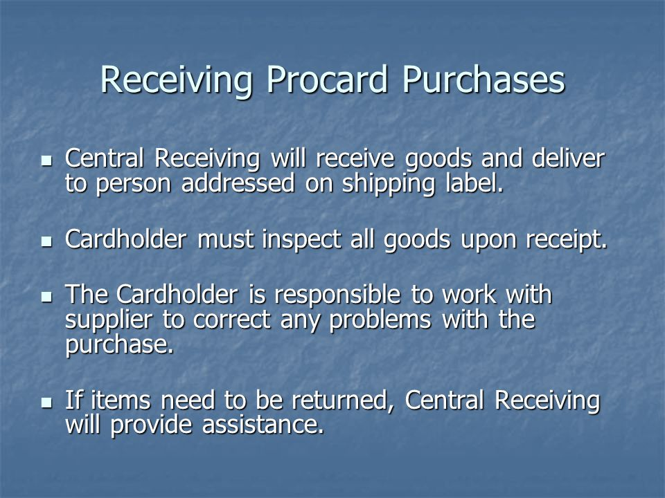 Receiving Procard Purchases