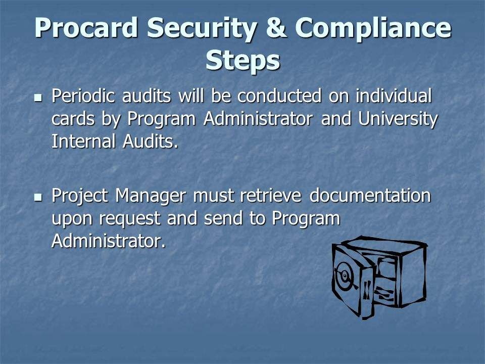 Procard Security & Compliance Steps