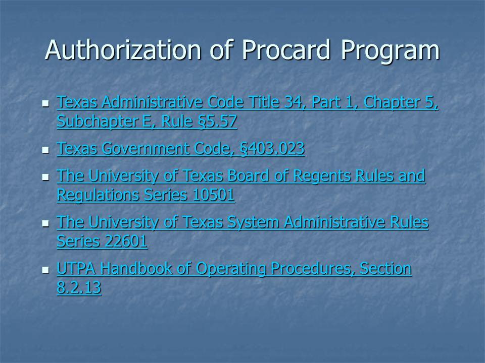 Authorization of Procard Program