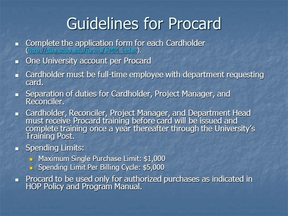Guidelines for Procard