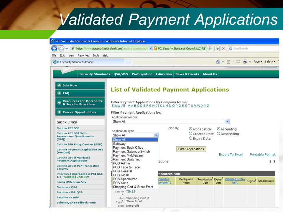 Validated Payment Applications