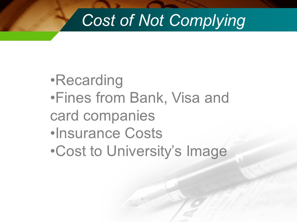 Cost of Not Complying Recarding