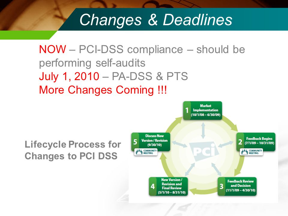 Changes & Deadlines NOW – PCI-DSS compliance – should be performing self-audits. July 1, 2010 – PA-DSS & PTS.