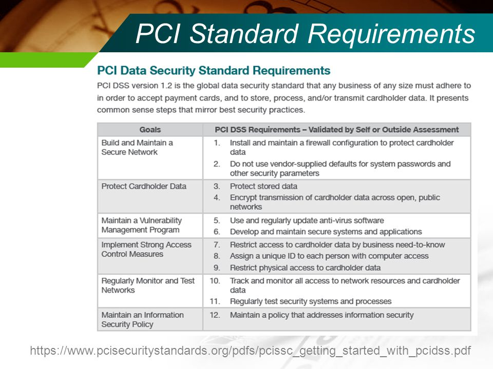 PCI Standard Requirements
