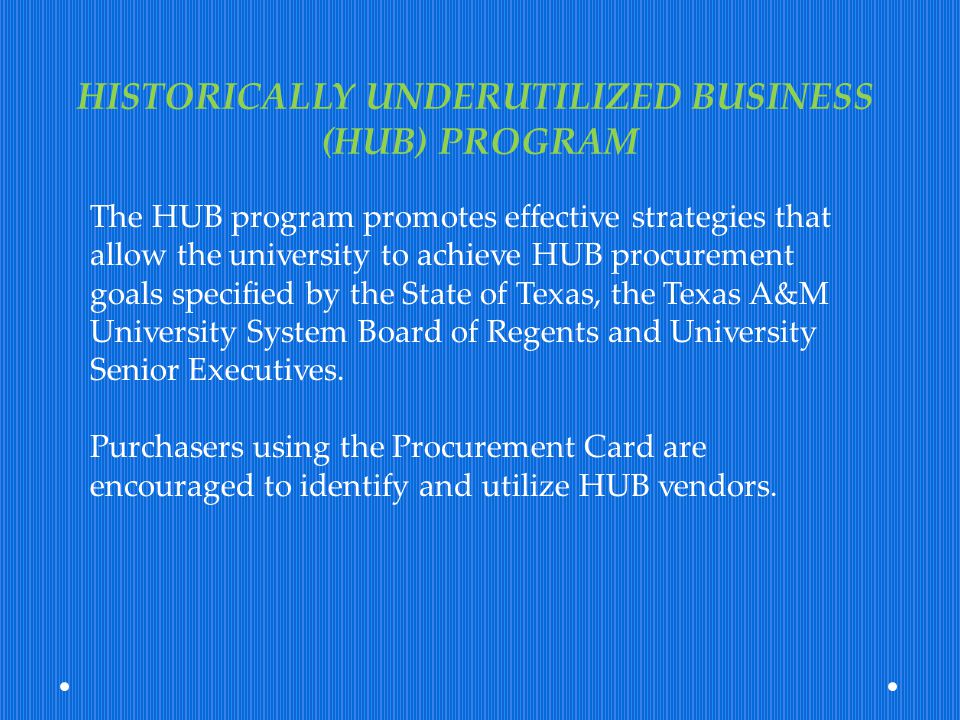 HISTORICALLY UNDERUTILIZED BUSINESS (HUB) PROGRAM