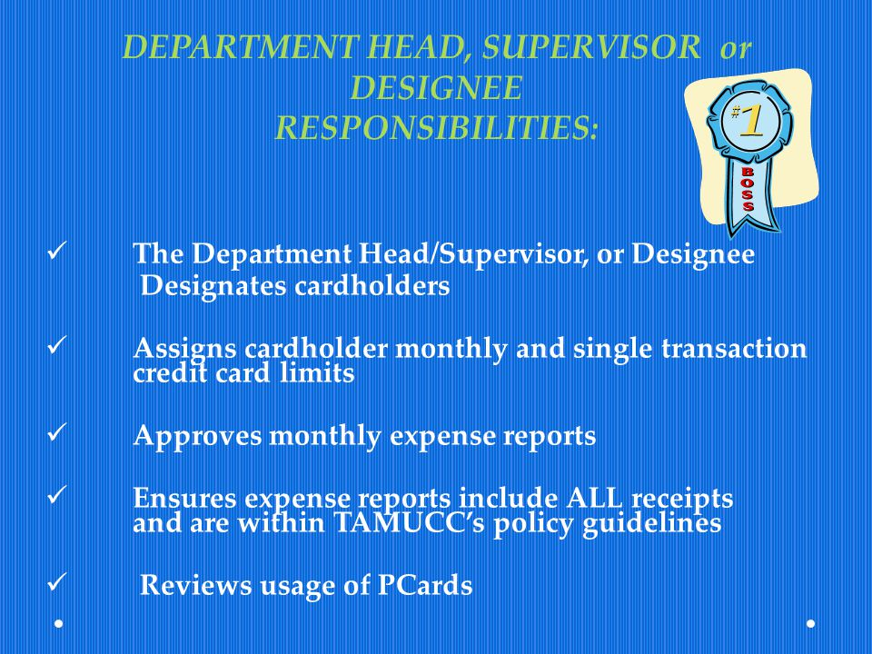 DEPARTMENT HEAD, SUPERVISOR or DESIGNEE RESPONSIBILITIES: