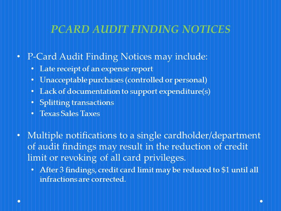 PCARD AUDIT FINDING NOTICES