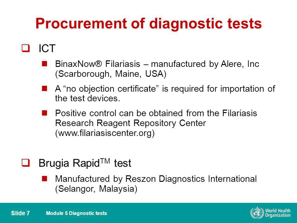Procurement of diagnostic tests