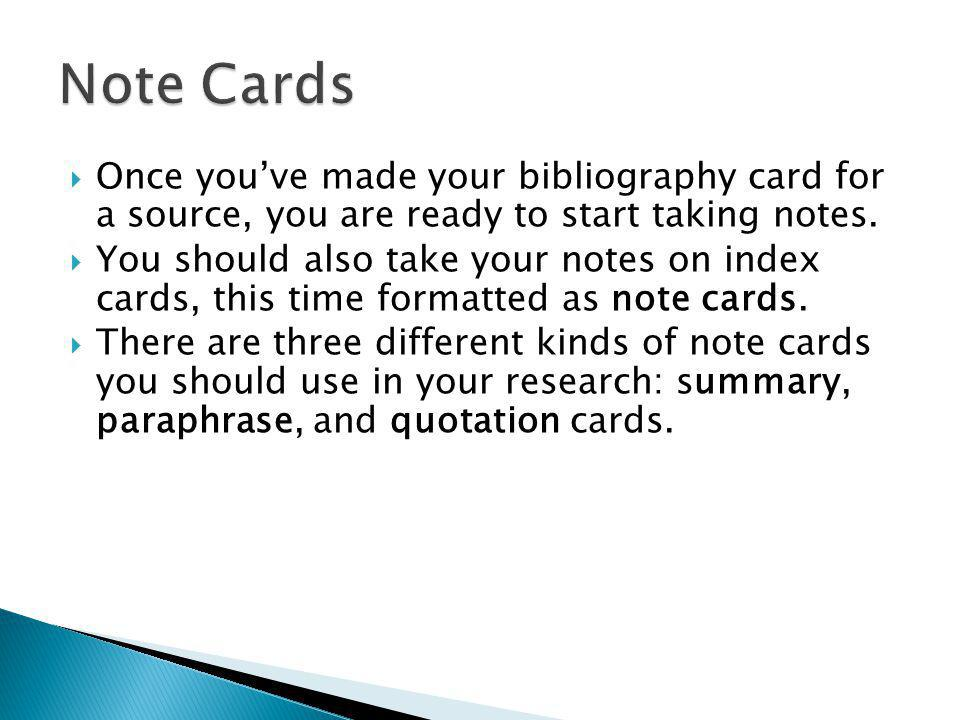 formatting notecards for research papers