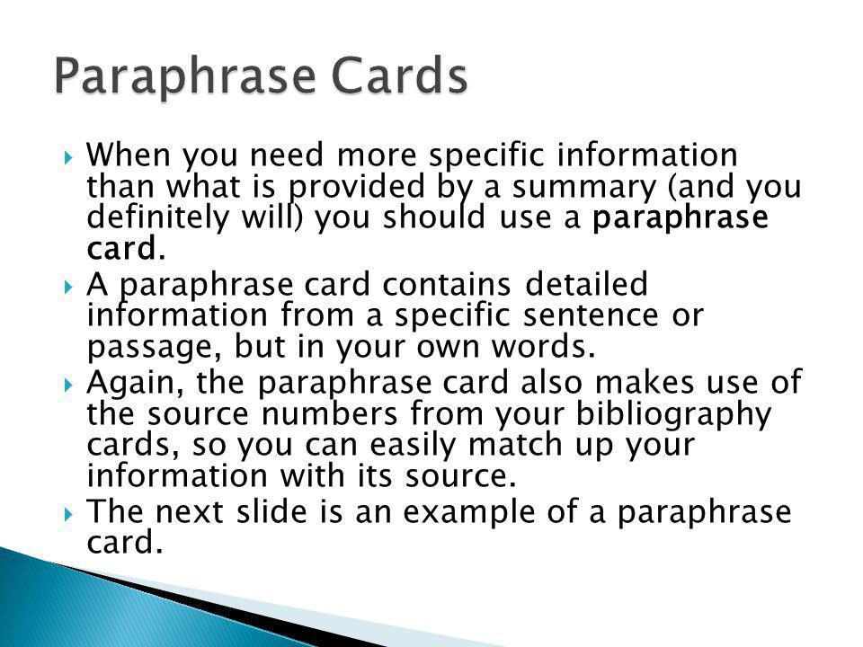 Paraphrase Cards
