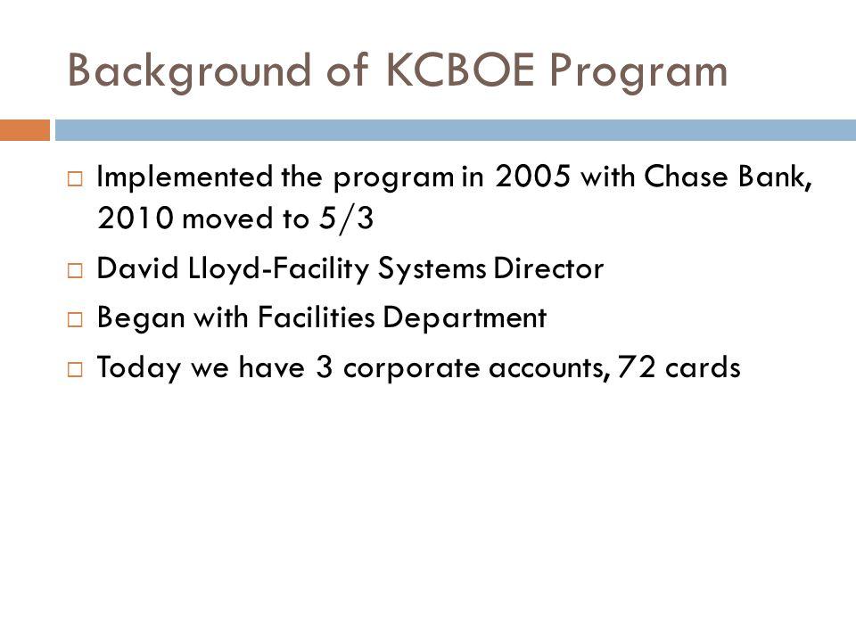Background of KCBOE Program