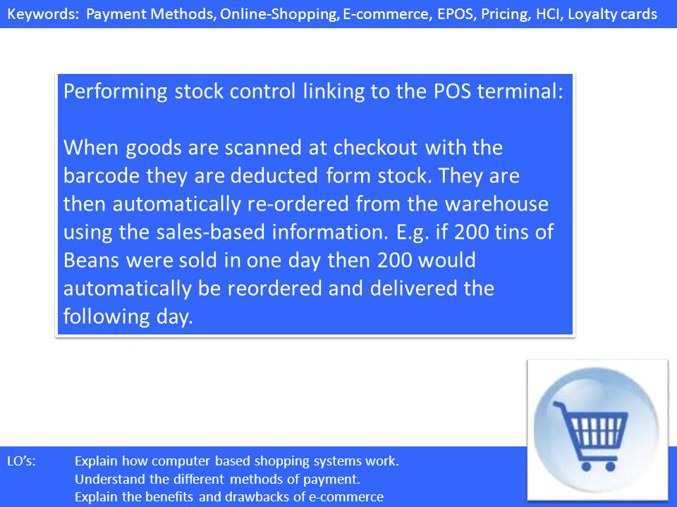 Performing stock control linking to the POS terminal: