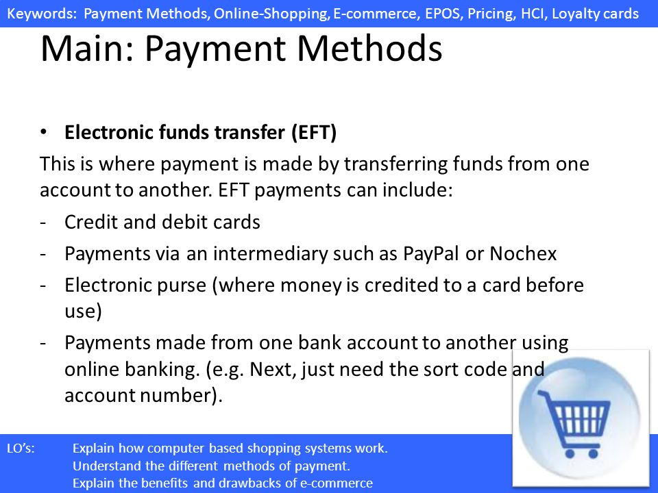 Main: Payment Methods Electronic funds transfer (EFT)