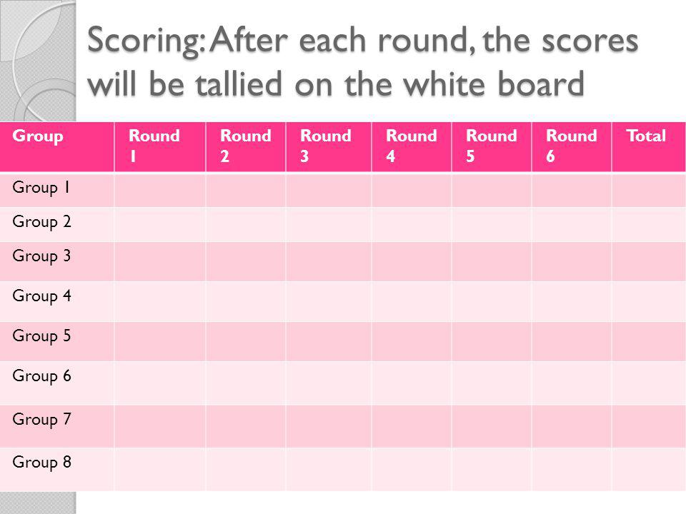 Scoring: After each round, the scores will be tallied on the white board