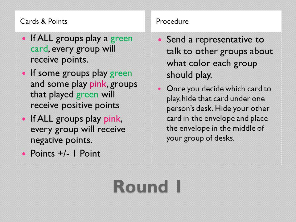 Cards & Points Procedure. If ALL groups play a green card, every group will receive points.