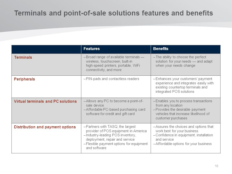Terminals and point-of-sale solutions features and benefits