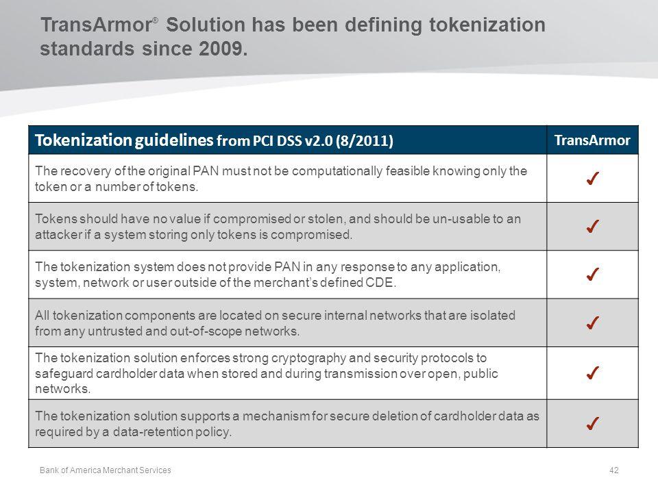 TransArmor® Solution has been defining tokenization standards since 2009.