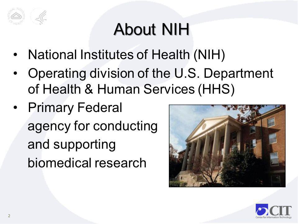 About NIH National Institutes of Health (NIH)