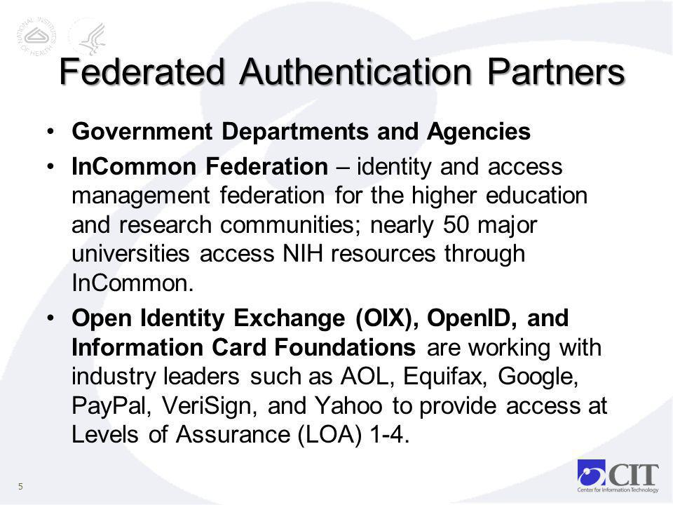 Federated Authentication Partners