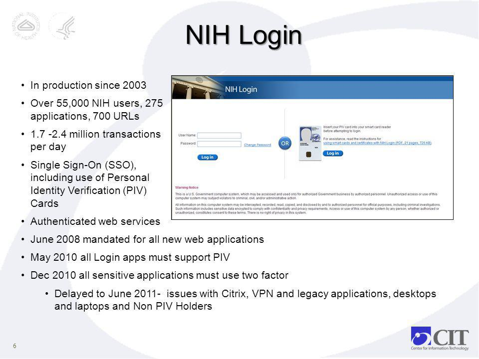 NIH Login In production since 2003
