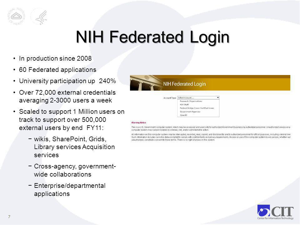 NIH Federated Login In production since 2008 60 Federated applications
