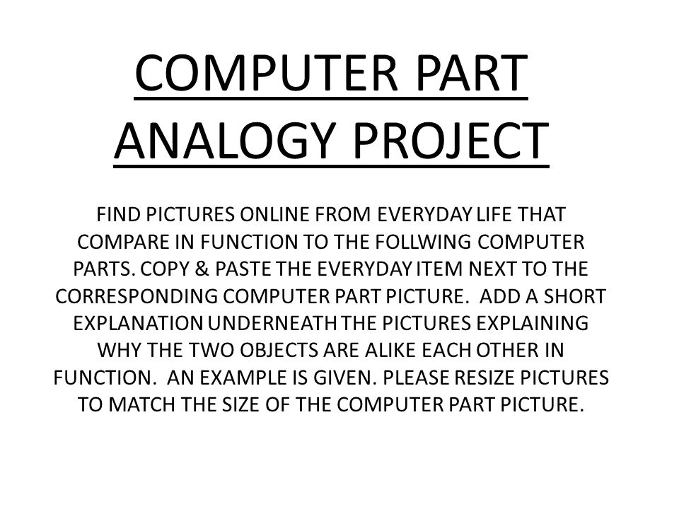 Computer Part Analogy Project Ppt Video Online Download