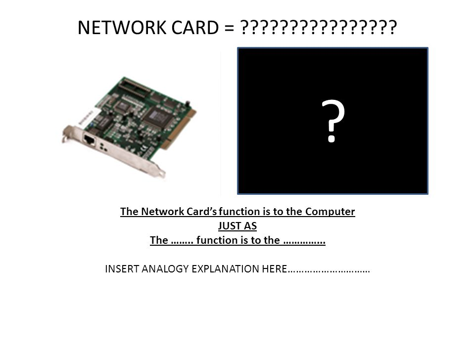 NETWORK CARD = The Network Card's function is to the Computer. JUST AS. The …….. function is to the …………...