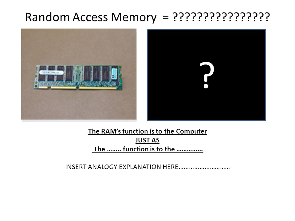 Random Access Memory = The RAM's function is to the Computer. JUST AS. The …….. function is to the …………...