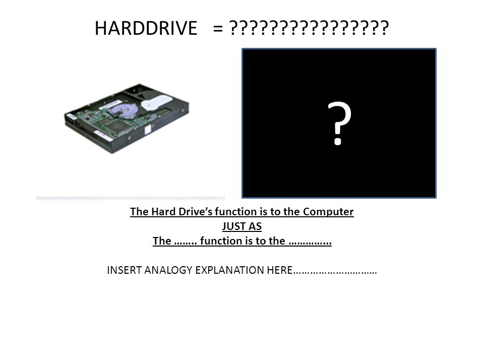 HARDDRIVE = The Hard Drive's function is to the Computer. JUST AS. The …….. function is to the …………...