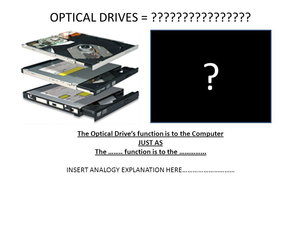 OPTICAL DRIVES = The Optical Drive's function is to the Computer. JUST AS. The …….. function is to the …………...