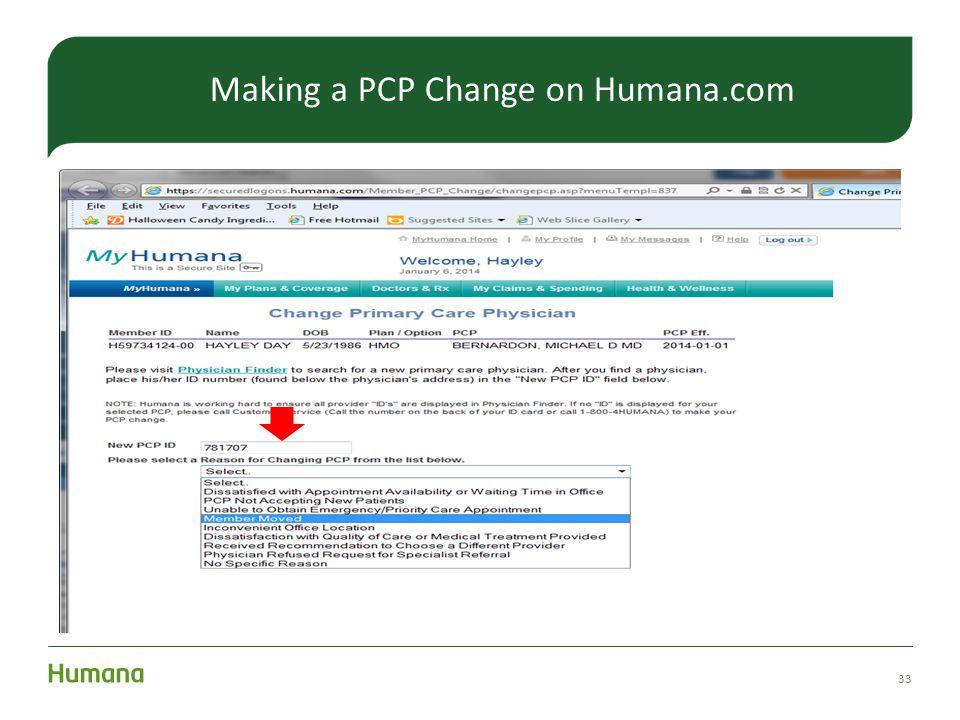 Making a PCP Change on Humana.com