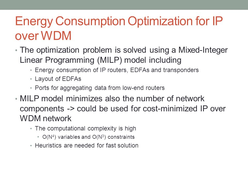 Energy Consumption Optimization for IP over WDM