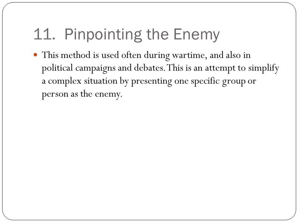 11. Pinpointing the Enemy