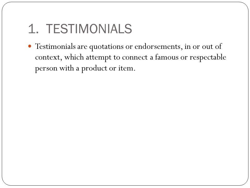 1. TESTIMONIALS